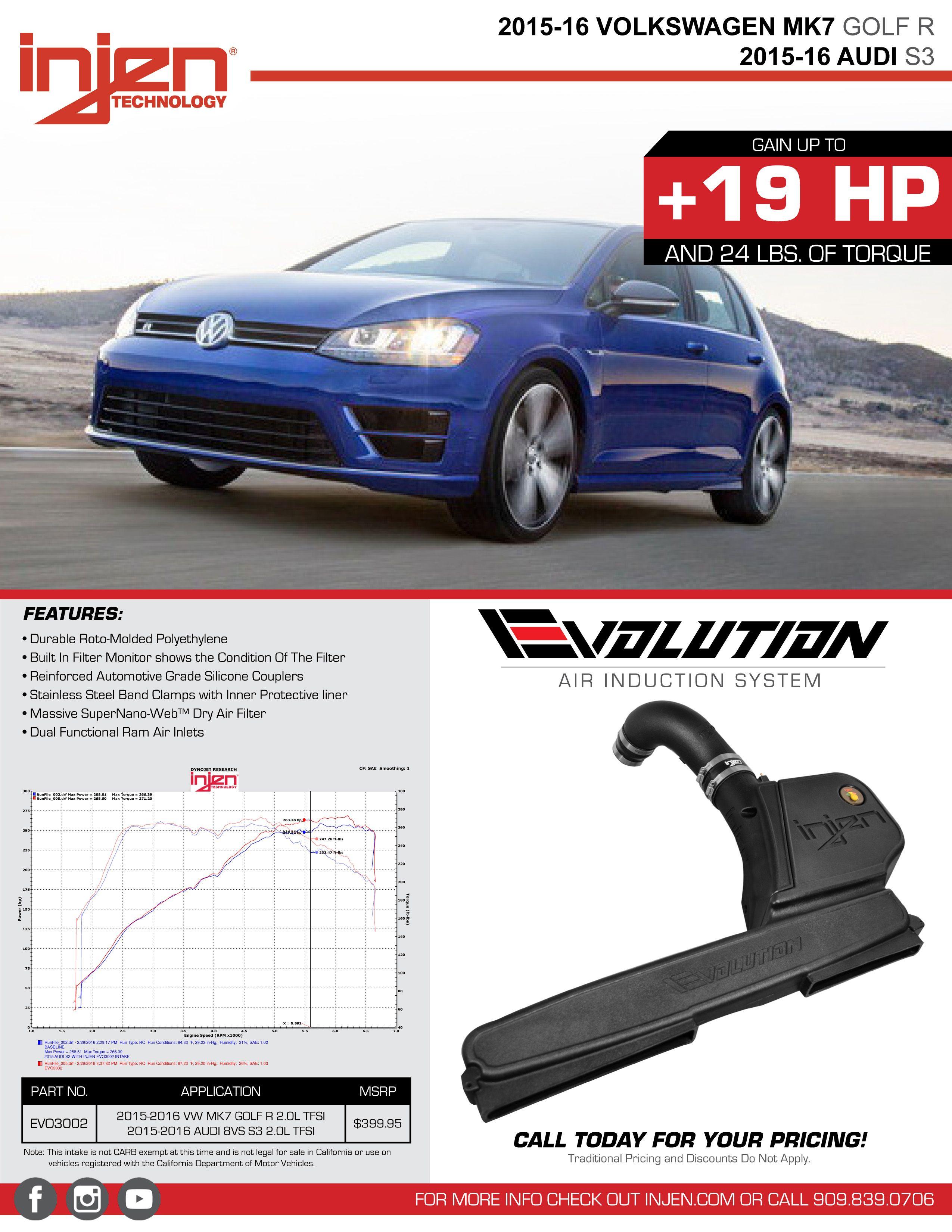 Injen Evolution Rotomolded Intake for 2015-16 VW Golf R [MK VII] EVO3002