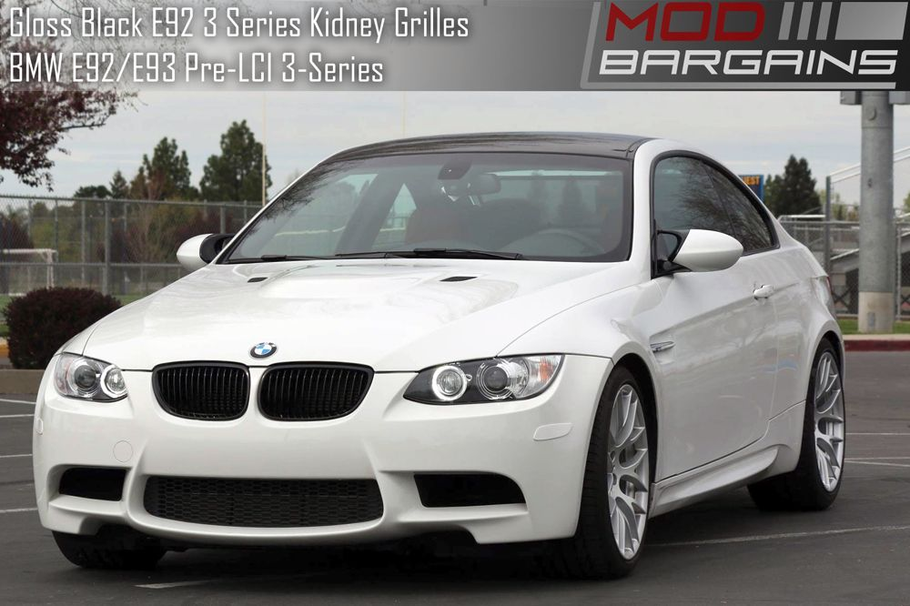 Gloss Black Kidney Grilles For E92 BMW 3 Series Installed