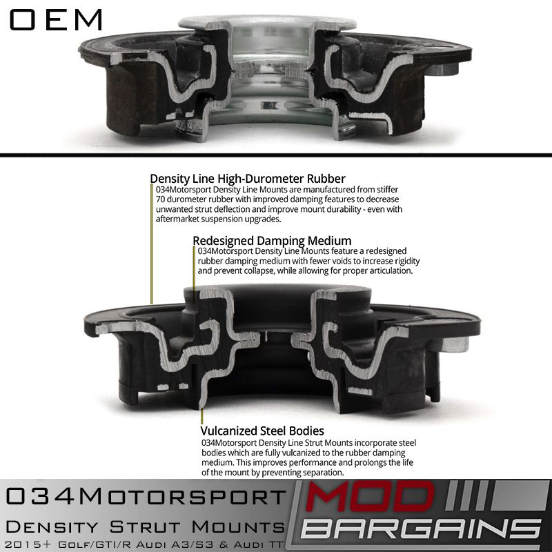 034Motorsport Density Front Strut Mount vs OEM 034-601-1007-SD
