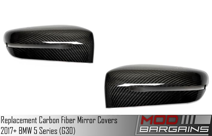 Carbon Fiber Replacement Mirror Covers for 2018+ BMW 5-Series [G30] ATK-BM-0254