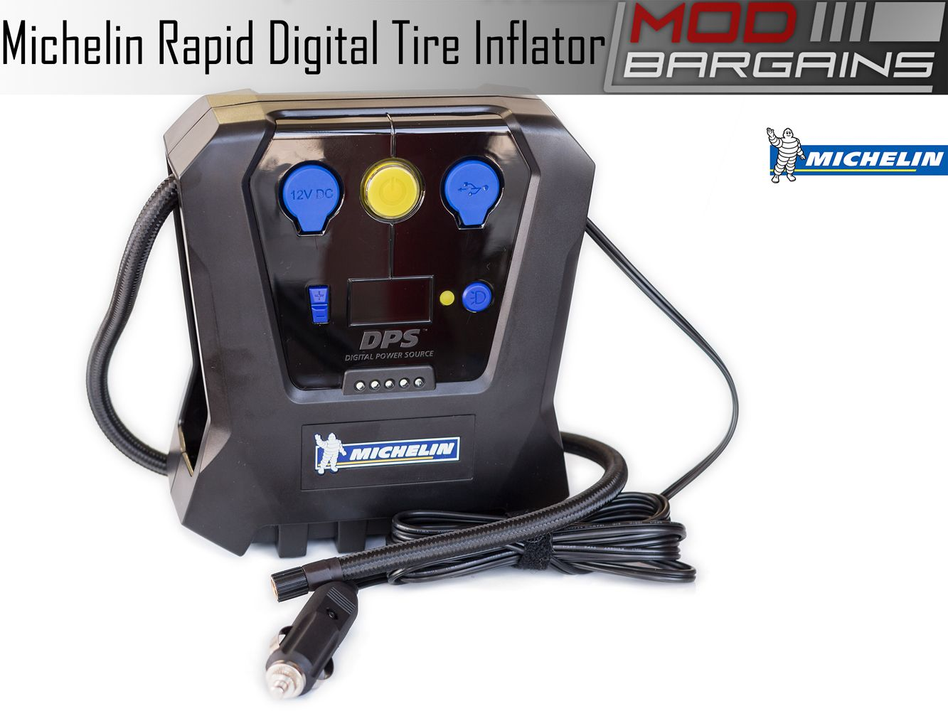 Michelin High Power 12 Volt Rapid Digital Tire Inflator with USB 5V Power Port and LED Lights 12266