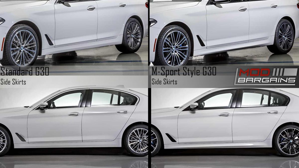 BMW G30 5 series Standard Side Skirts vs MSport Style Side Skirts G30MTSIDE