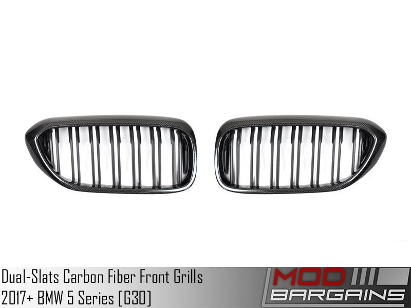Replacement Dual-Slats Carbon Fiber Front Grilles for 2017+ BMW 5 Series [G30] [ATK-BM-0250-DS-CF]