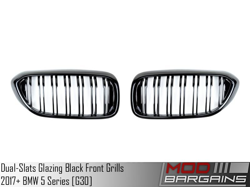 Replacement Dual-Slats Glazing Black Front Grilles for 2017+ BMW 5 Series [G30] [ATK-BM-0250-DS-GB]