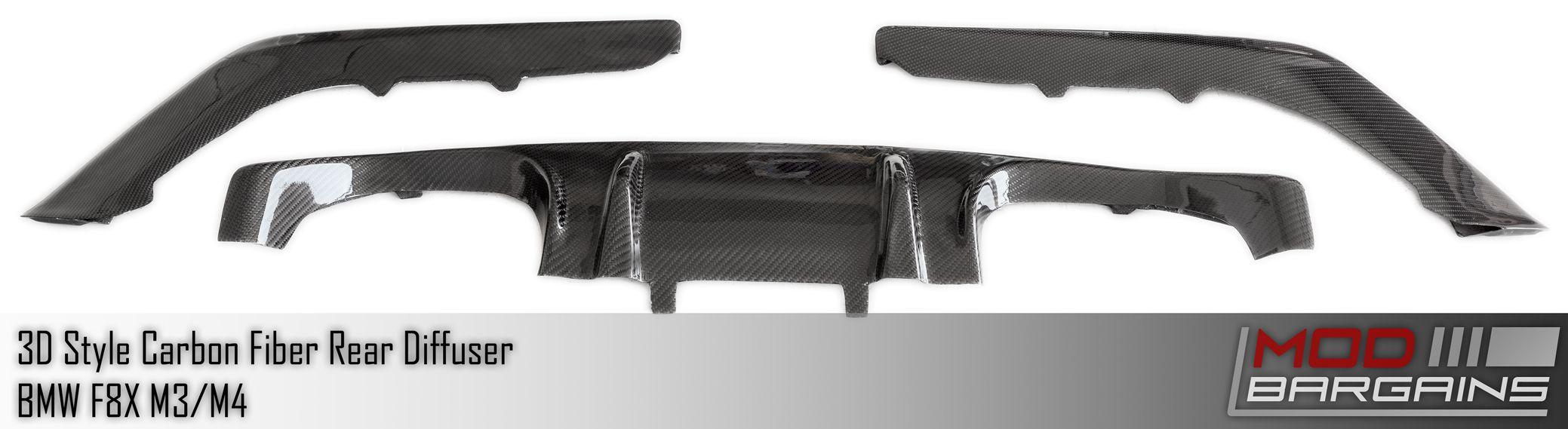 Layout View of 3 Piece 3D Carbon Fiber Rear Diffuser MBDI8X05