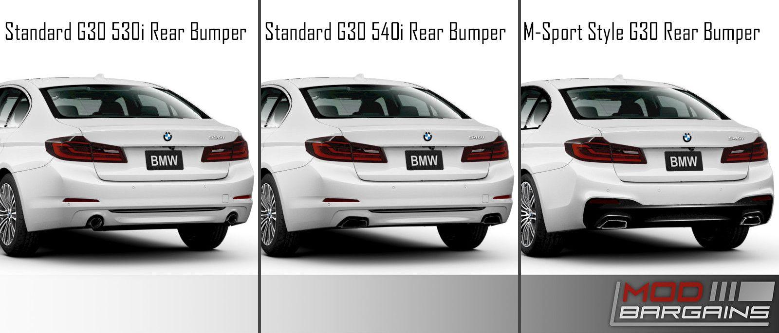 BMW G30 5 series Standard Rear Bumper vs MSport Style Rear Bumper G30MTRR-540