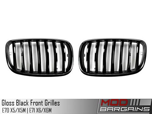 Gloss Black Front Grilles (E-Chassis X5/X5M & X6/X6M)